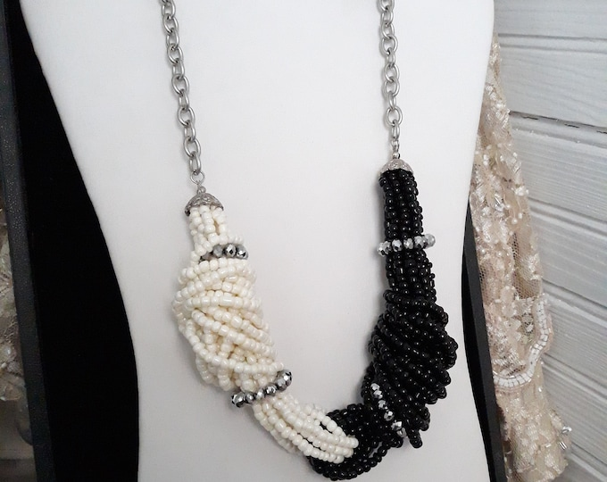 Vintage Black and White  seed bead Boho Hippie necklace, Gift for her, Estate jewelry, Christmas, under 10