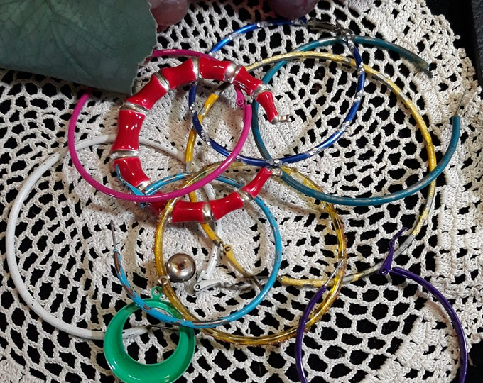 Colorful lot of circle earring singles