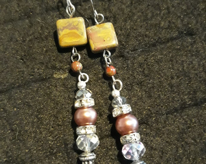 Beautiful handcrafted Boho  pierced dangle drop earrings with Picasso beads and rhinestones