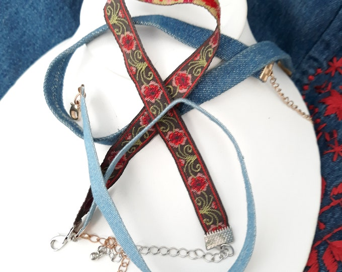 Boho choker necklace lot, fabric chokers for wear or repurpose, boho craft jewelry