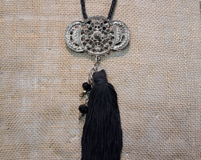 Handmade Tassel Boho Hippie pendant necklace, One of a kind handmade unique necklace affordable