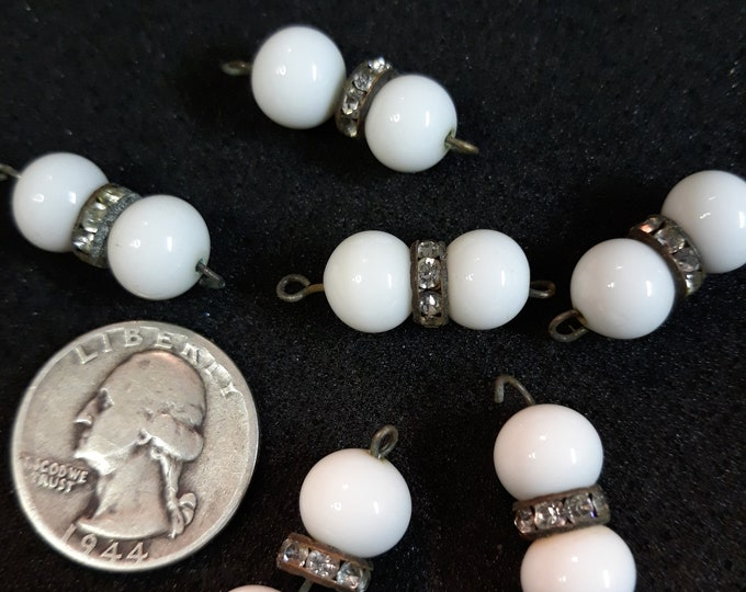 Vintage milk glass bead dangle lot with rhinestone rondelles, junk jewelry, jewelry pieces, repurposed jewelry, craft jewelry
