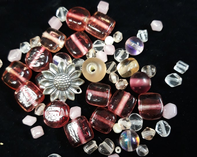 Beautiful pink glass  mixed bead lot with flower charm / pendant, junk jewelry, Vintage jewelry lot, jewelry pieces, salvaged jewelry