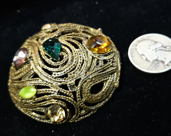 Pretty Mid century vintage brooch with rhinestone, Adornments, Brooches for picture frame art, Embellishments