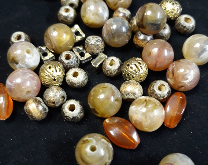 Earth tone acrylic and metal mixed bead lot, junk jewelry, Vintage jewelry lot, jewelry pieces, repurposed jewelry, salvaged jewelry