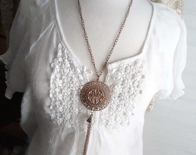Handmade Boho Hippie pendant necklace, One of a kind handmade unique necklace affordable