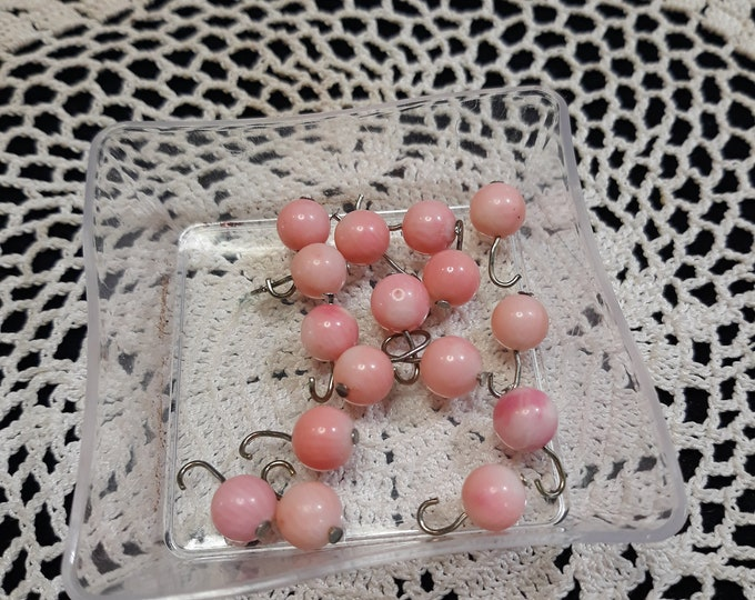 Salvaged bead dangle lot salmon colored 16 pieces