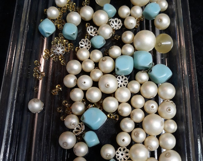 Salvaged 1950's vintage necklace beads and findings
