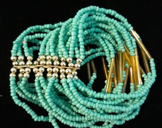 Retro Boho turquoise glass seed bead bracelet multi-strand stretch beaded bracelet