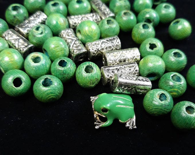 Metal tube beads green wood beads and a cute frog, junk jewelry, Vintage jewelry lot, jewelry pieces, repurposed jewelry, salvaged jewelry