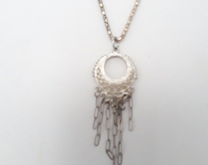 Boho silver tone pendant necklace with dangles, One of a kind handmade unique necklace affordable