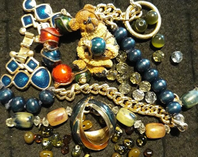 Vintage assorted crafting jewelry with brooch, Vintage mixed media jewelry lot, Crafting jewelry, jewelry pieces, repurposed jewelry