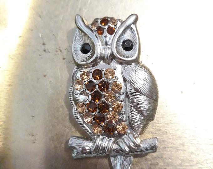 Vintage Owl brooch for repair or repurpose, craft jewelry