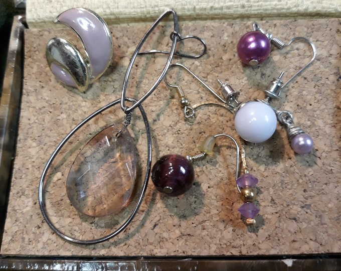 Vintage single earrings craft lot, craft jewelry lot, earring singles