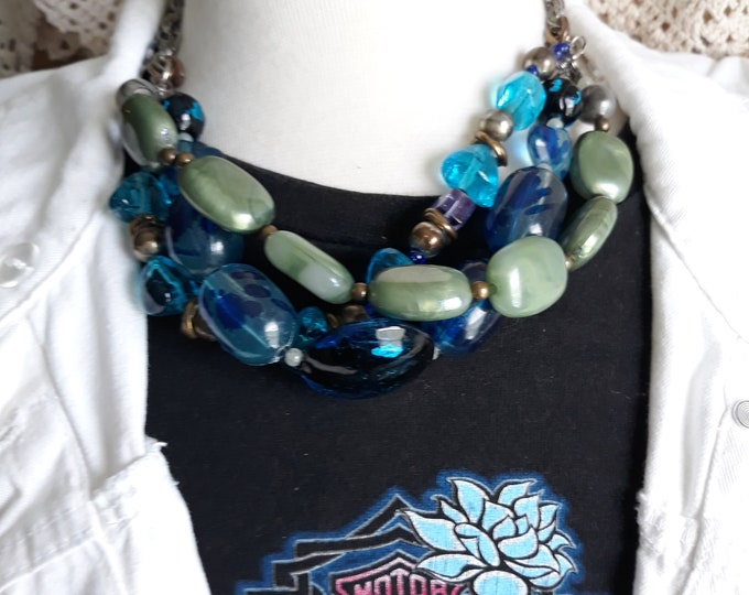 Funky chunky Chico's vintage mixed bead necklace, Chico's multi strand necklace