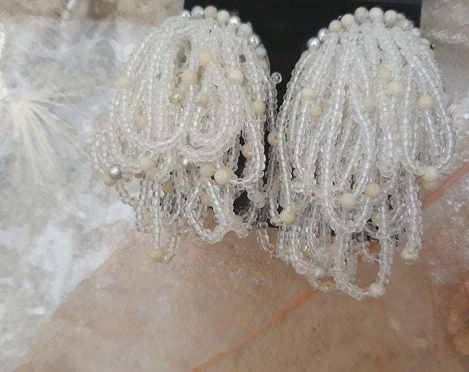 Vintage seed bead cluster dangles, Vintage glass bead earrings, repurpose jewelry, glass beaded jewelry, clear glass beads, clear seed beads