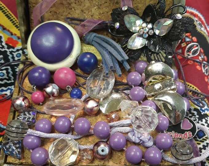 Purple vintage beads and  assorted junk jewelry, Vintage jewelry lot, repurposed jewelry, salvaged jewelry