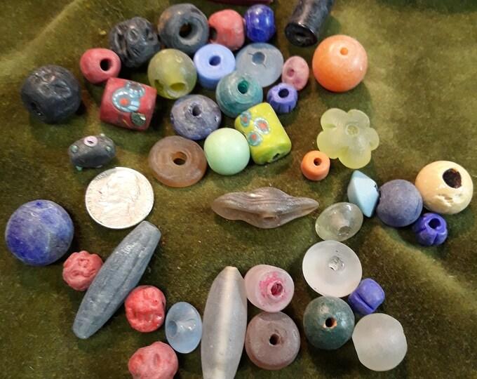 Outstanding lamp work art glass furnace glass bead lot, lamp works bead lot, assorted furnace glass beads