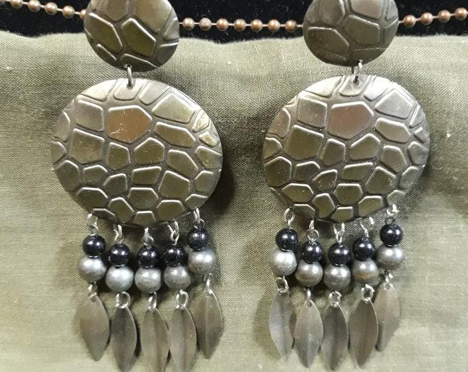 Unique vintage BOHO Gypsy Bohemian dangle drop pierced earrings