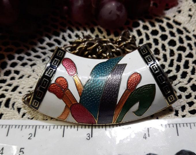Exquisite vintage cloisonne art pendant necklace