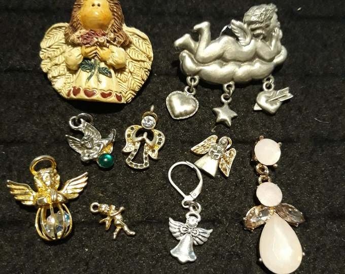 Vintage assorted angel jewelry, Vintage mixed angel jewelry lot, Crafting jewelry, jewelry pieces, repurposed jewelry, salvaged jewelry