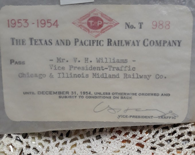 Vintage T and P Railway Pass for VP...like new! Texacana 1953-1954