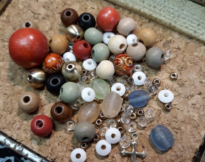 Boho Hippie mixed beads and charm dangle lot, junk jewelry, mixed bead lot, jewelry pieces, repurposed jewelry, salvaged jewelry