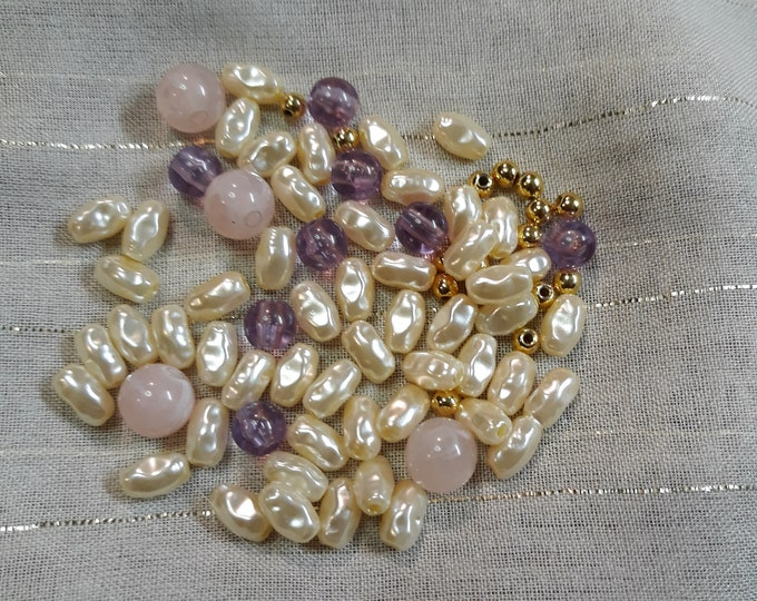 Vintage faux seed pearl bead mix, junk jewelry, Vintage jewelry lot, jewelry pieces, repurposed jewelry, salvaged jewelry