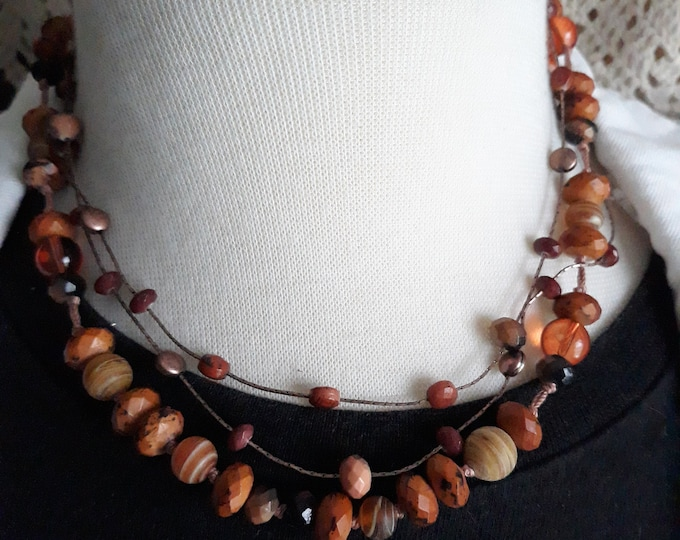 Vintage Boho beaded 16 inch necklace, Gift for her, Retro, Estate jewelry
