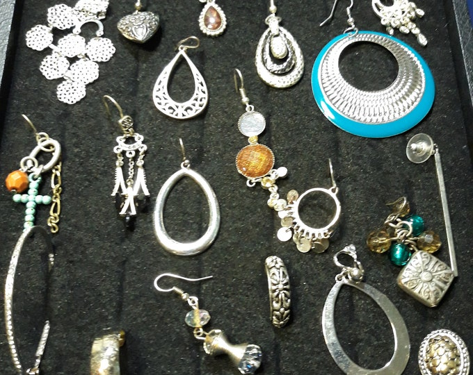 20 pc Salvaged lot dangle earring singles