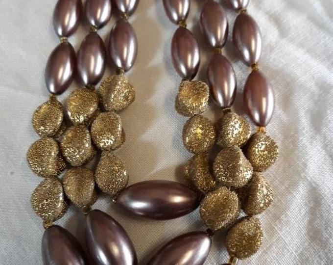 1950's Sugar bead triple strand necklace Estate Sale find