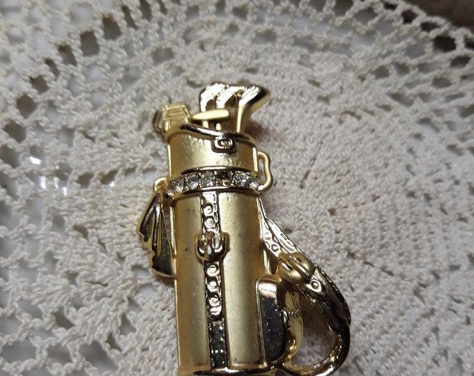 Unusual vintage brooch rhinestone golf pin OAJC tlc