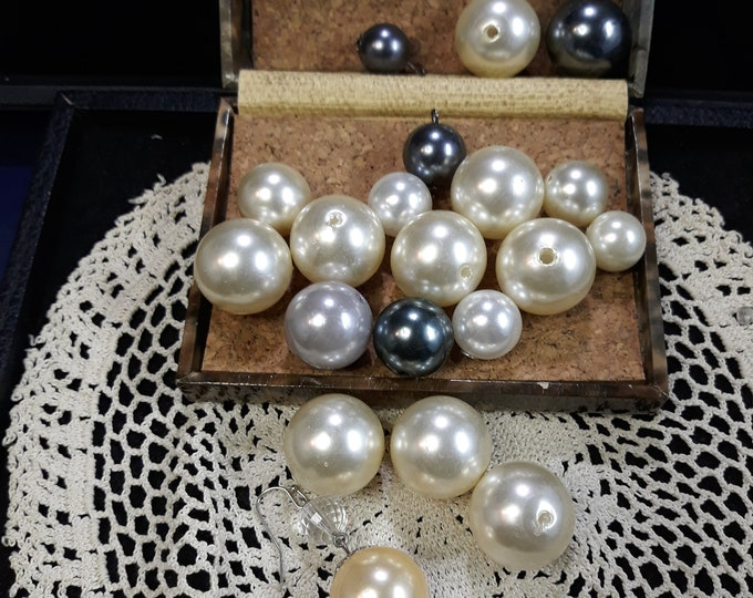 Vintage pearl crafting lot with oversized beads