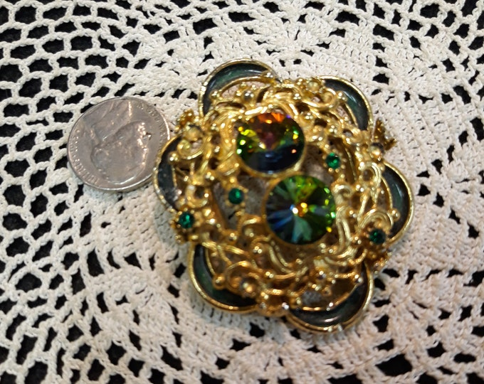 Beautiful Vintage Rivoli brooch, Rhinestone craft jewelry, Adornments, Brooches for picture frame art, Embellishments