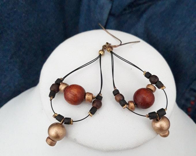 Vintage Boho pierced dangle earrings, Boho dangle pierced earrings, gift for her, gift for girlfriend, under 10, vintage costume jewelry