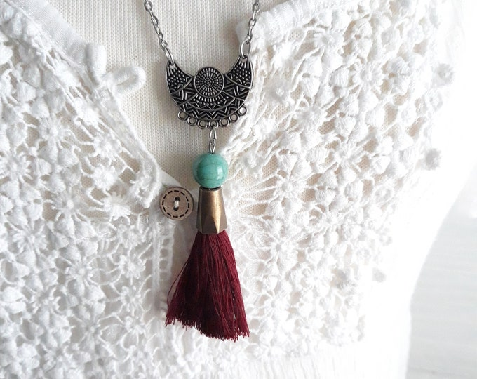 Reserved for Judy Retro Boho beaded necklace with tassel, Gift for her, Retro, Hippie jewelry