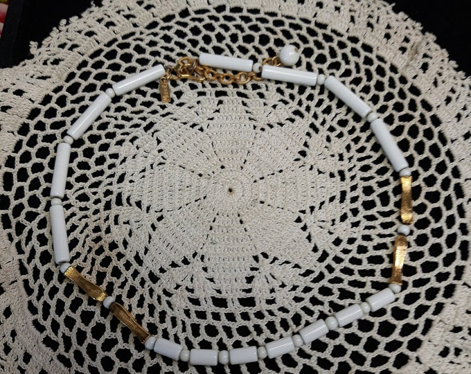 1960's Vintage Monet choker beaded on chain, white and gold tone
