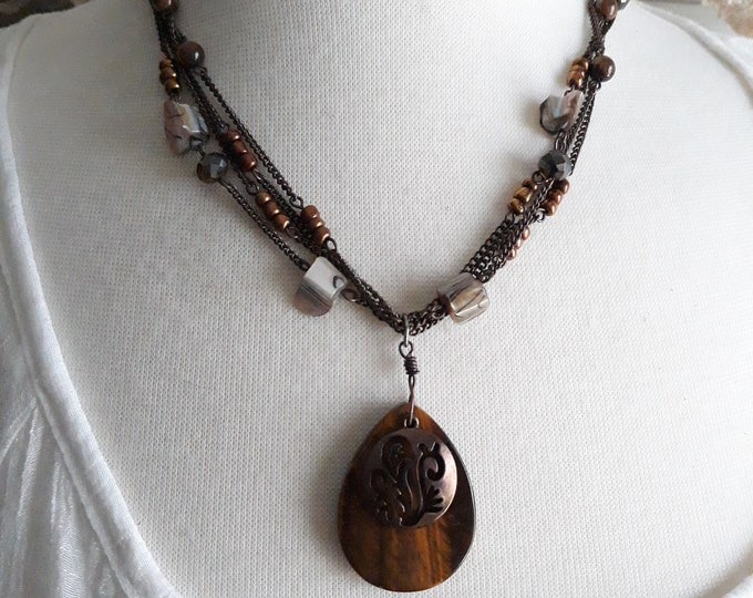 Retro Boho tiger's eye pendant beaded necklace, Gift for her, Retro necklace, Hippie jewelry