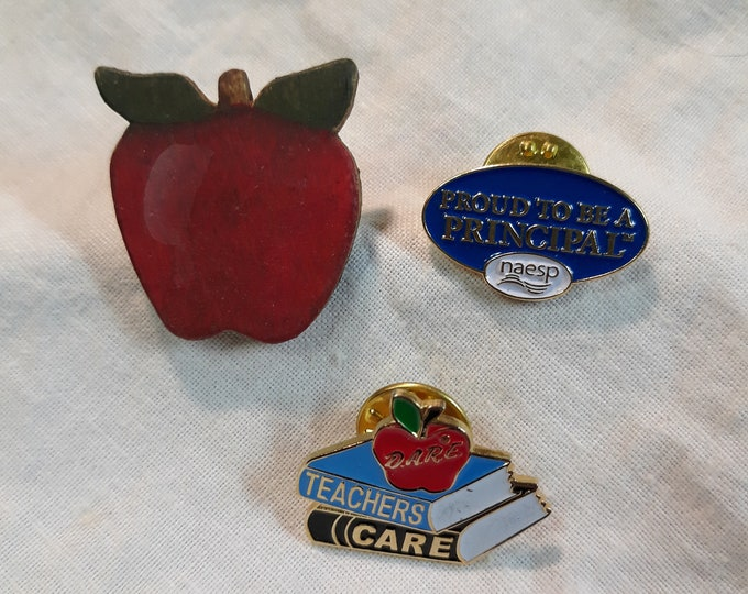 Vintage education pinback craft lot, 97c Special Value junk jewelry components, repurposed jewelry, salvaged jewelry