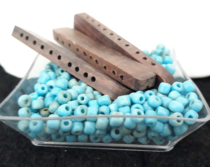 Turquoise blue Boho bracelet kit with seed beads and wood spacers / strand seperators