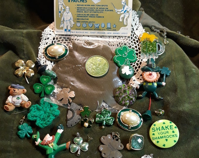 Vintage St. Patrick's  Day assorted jewelry mixed lot, green crafting lot, mixed media, junk jewelry, luck