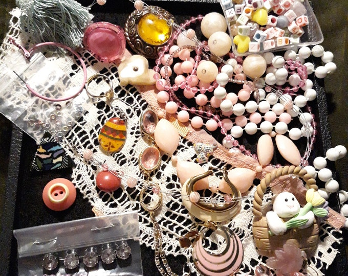 Easter crafting lot with pins beads and single earrings, Pastel colors for Spring crafts, Colorful mixed media junk jewelry lot