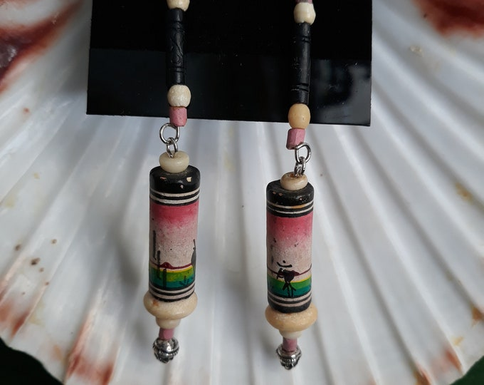 Handmade vintage hippie bead dangle pierced earrings, Recycled jewelry, 1970's jewelry