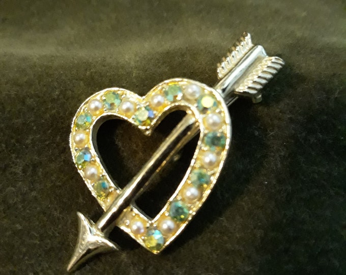 Vintage Aurora Borealis heart shaped brooch, Heart brooch Valentine's Day gift, Gift for mom