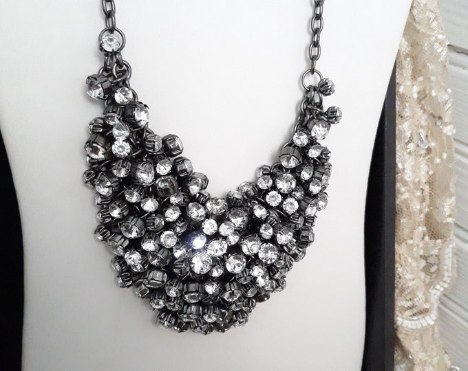 Gorgeous retro chainmaille bib necklace with rhinestones