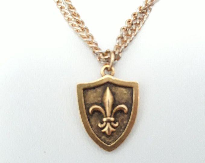 Beautiful double curb chain choker with de fleur gold tone pendant, One of a kind handmade unique necklace affordable