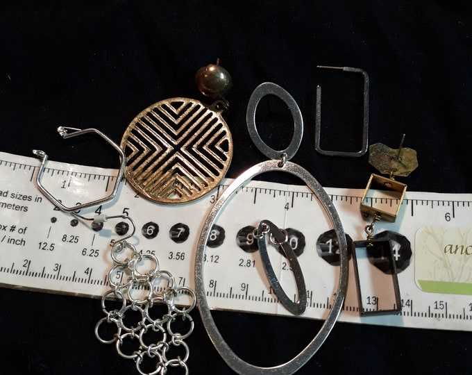Vintage geometric crafting earring singles lot, single earring lot, craft jewelry, vintage earring singles