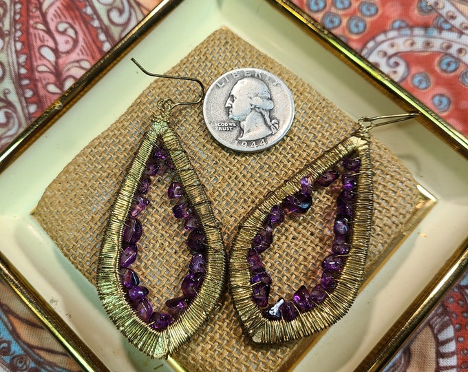 Amazing Vintage Boho pierced dangle earrings, Wire wrapped Boho dangle pierced earrings, gift for her, under 10, vintage costume jewelry