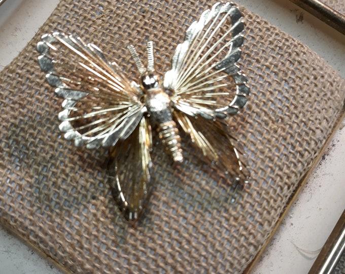 Very pretty Monet butterfly designer brooch, Destash designer jewelry, signed jewelry, signed brooch