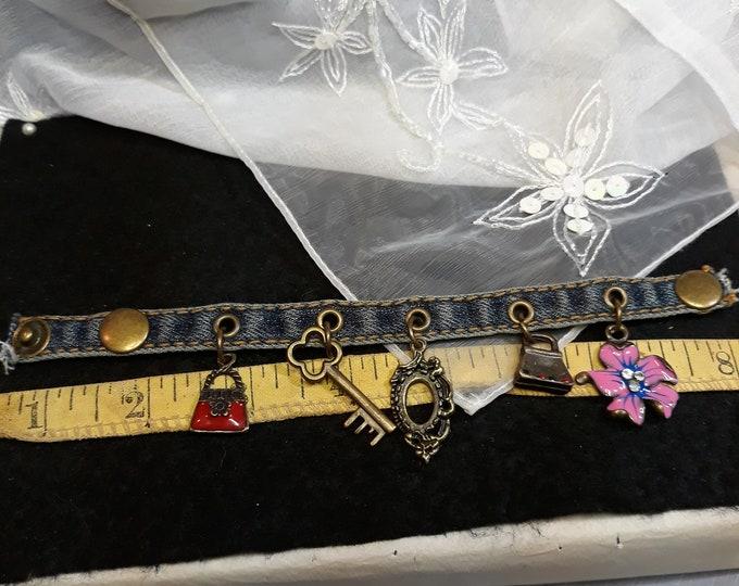 Retro Boho denim charm bracelet hippie fashions
